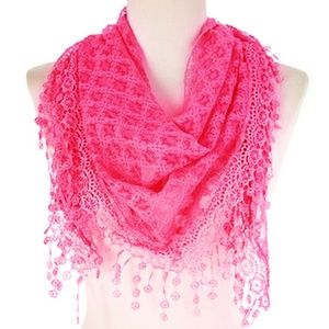 New Fashion Triangle Lace Scarf Hotpink Color